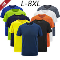 Men's Basic Casual Outdoor T-shirt Plus Size Sport Fast-Dry Breathable Tops Tee