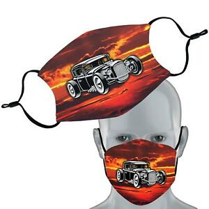 Hotrod Car Printed Face Mask Double Layer Washable Adjustable Filter Face Cover