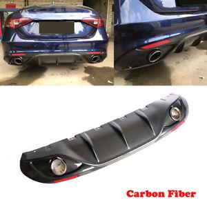 For Alfa Romeo Giulia 16UP Rear Diffuser Lip Spoiler W/Exhaust Tips Carbon Fiber
