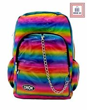Rainbow Holographic Reflective Rucksack Backpack With Chain Christmas Gift Ideas