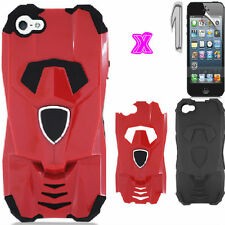 iPHONE SE 5 5S HYBRID HARD&SOFT RED&BLACK CASE SPORTS CAR+LCD SCREEN P