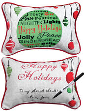 Christmas Cards ~ Happy Holidays Write On Word Pillow