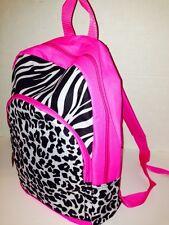 """New Girls 15"""" Leopard Zebra Printed Pink Zip Front Pocket Backpack Bag US SELLER"""