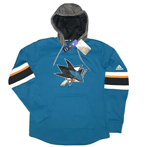 Adidas San Jose Sharks NHL Jersey Hoodie Sewn Logo Mens Small NEW w/TAG MSRP$100