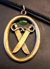 Wing Chun Crossed Butterfly Swords Medalion Silver,Bruce Lee Kung Fu,Ip, Jade