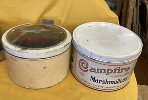 Vintage Campfire Marshmallow 5 lb Tin & Shotwell's Marshmallow Glass-Top (Crack)