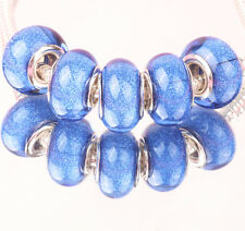5pcs SILVER MURANO bead LAMMWORK fit EuroMean Charm Bracelet B#70