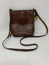 Brahmin Dark Brown Vintage Croc Embossed Leather Crossbody Purse Bag