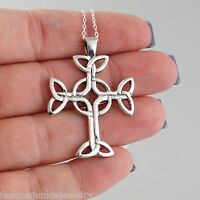 Celtic Trinity Knot Cross Necklace - 925 Sterling Silver - Irish Pendant NEW