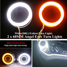 2x60mm COB LED Angel Eyes Halo Ring Kit Fog Lamp Light W/Turn Signal White Amber