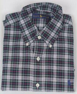 Ralph Lauren Blue Green Cream Plaid Classic Dress Shirt Navy Pony NWT