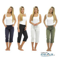 Womens 3/4 Capri Linen Trousers Ladies Rib Back Cropped Pants Shorts Sizes 10-20