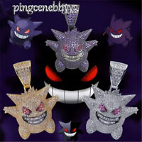 Pokémon Gengar Hip Hop Iced Out Jewelry Chain Cubic Zirconia Necklaces Gift