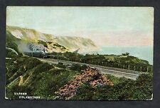 Steam Train Travelling Through the Warren, Folkestone. Posted 1906.