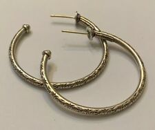 KONSTANTINO 18K 750 925 Sterling Silver Classics Collection Etched Hoop Earrings