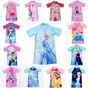 Girls Kids UV Swimming Costume Swimsuit Sunsafe Surf Suit Swimwear Age 3-11 Yers