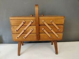 VTG Midcentury Wooden Sewing Box And Contents Legs Large 43 X 35cm Drawers