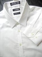 CLAIBORNE mens 17.5 x 34/35 WHITE Modern Fit  Cotton DRESS SHIRT  NWT $45