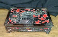 Japanese Dragon Personal Trinket Box Makeup Jewelry Box Case Mirror Made Japan