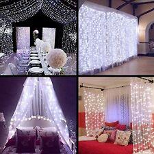 White 300LED Wedding Party String Fairy Curtain Lights Decor 9.8FT*9.8FT US Plug
