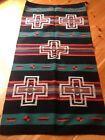 Navajo Design, Southwestern Wool Rug or Wall Hanging 32 x 64  Teal Black Cross