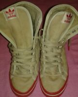 Adidas Beige Fuzzy Lace Up Preowned Sneakers Sz  5 Women's