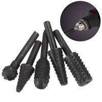 5pcs 1/4  Drill Bits Set Shank Rotary Rasp File Carbide Burrs Woodworking Tool