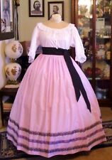 Civil War Dress~Victorian Style Lovely 100% Cotton Lavender & Lace Skirt & Sash