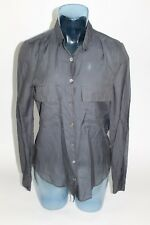 Zadig & Voltaire Deluxe TEVA Blouse Size SMALL Gray Button Front Collar Top $298