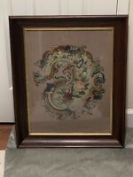 Antique Needlepoint Flower/ Acanthus Leaf Pattern Wood Framed With Glass