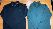 Two Men's Patagonia Performance Baselayer Capilene 1/4 Zip Black Forest Green L