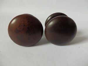Pair of Old Vintage Wooden Screw Door Knobs Handles Pulls (Odd)  #1603