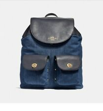 COACH (F25883) BILLIE DENIM PEBBLED LEATHER MIXED BACKPACK Bag