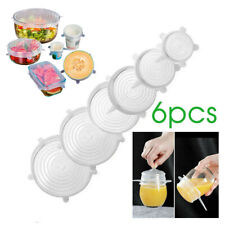 6PCS Stretch Reusable Silicone Bowl Wraps Food Saver Cover Seal Insta Lids MN AU