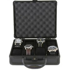 Watch Case for 8 Watches Collectors Store Safe Black Aluminum Handle