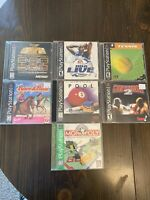 Lot Of 7 PS1 Playstation One Games Monopoly Barbie Pool NBA Live Atari Cinteder
