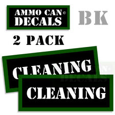"""CLEANING Ammo Can 2x Labels Ammunition Case 3""""x1.15"""" stickers decals 2 pack"""
