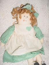 "21""-Ooak-Rag Doll Handmade Homemade ? Blue Off White Dress-Tounge-Freckles-Yar n"