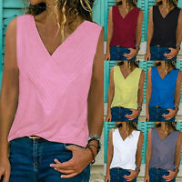 Women Sleeveless Blouse Vest Top Summer Causal V Neck Tank T-Shirt Beach Shirts