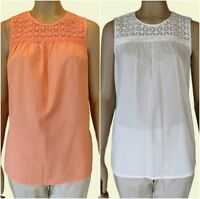 Ex M&S Ladies Cream or Blush Sleeveless Cotton Casual Summer Top Size 10 - 24