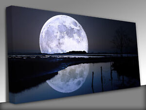 Panoramic moon at its full Canvas Wall Art Picture Print
