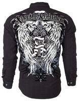 XTREME COUTURE by AFFLICTION Men L/S BUTTON DOWN Shirt KINGS FALL Skulls $78