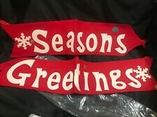 Vintage Felt Seasons Greetings Banner Red A025
