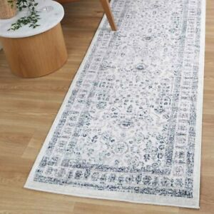 Rothbury Floral Allover Ivory Blue Transitional Floor Rug Runner - 80x300cm