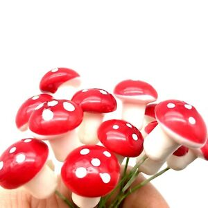 Mini Toadstool Mushroom Fairy Ornament Decoration Embellishment Crafts 3D
