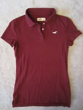 HOLLISTER MARROON SHORT SLEEVE POLO SHIRT BASIC STRETCH TEE KNIT TOP SMALL S NEW