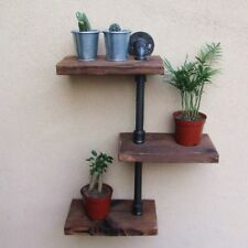 3 Tiers Industrial Wall Mount Iron Pipe Shelf Retro Rustic Urban Wooden Shelving