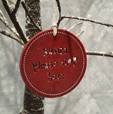 East of India Red Santa Stop Here Sign Christmas Tree Hanging Decoration Door