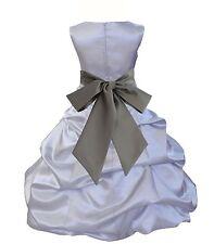 FORMAL SILVER DRESS BUBBLE FLOWER GIRL PICK-UP RECEPTION RECITAL COMMUNION KIDS