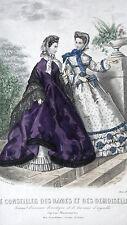 GRAVURE MODE ANCIENNE 19e - CONSEILLER DES DAMES ET DEMOISELLES - JUIN 1863